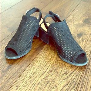 Peep toe block heeled sandals